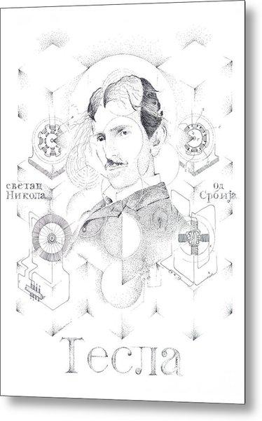 St. Nikola Tesla Of Serbia Sombra De Arreguin Metal Print