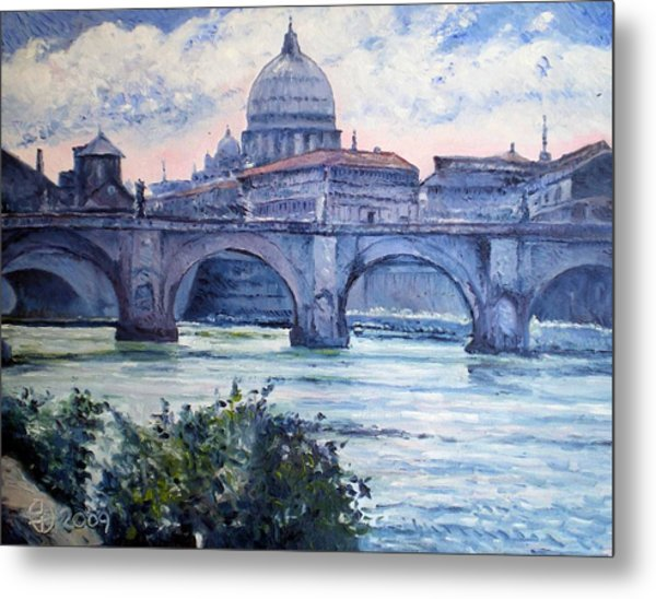 St Peter And Ponte San Angelo Rome Italy 2009 Metal Print by Enver Larney