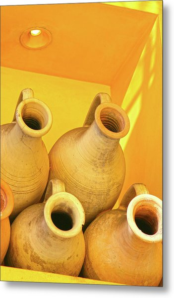 Stacked Yellow Jars Metal Print