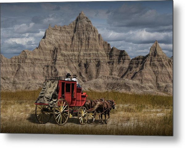 Stage Coach In The Badlands Metal Print