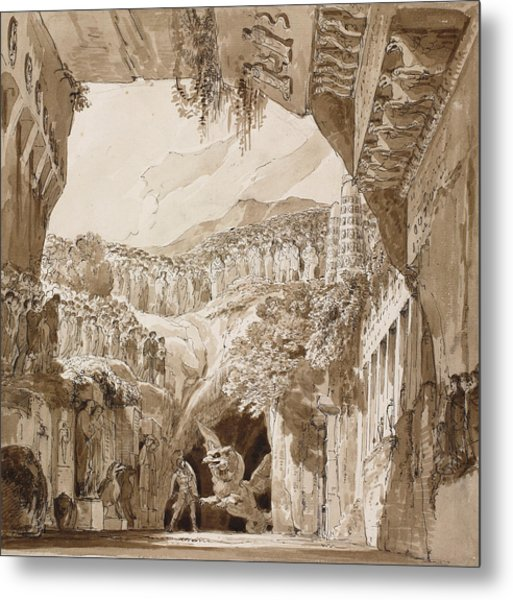 Stage Design With A Man Fighting A Dragon In A Cave  Metal Print
