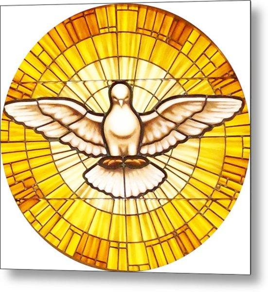 Stain Glass Dove Metal Print