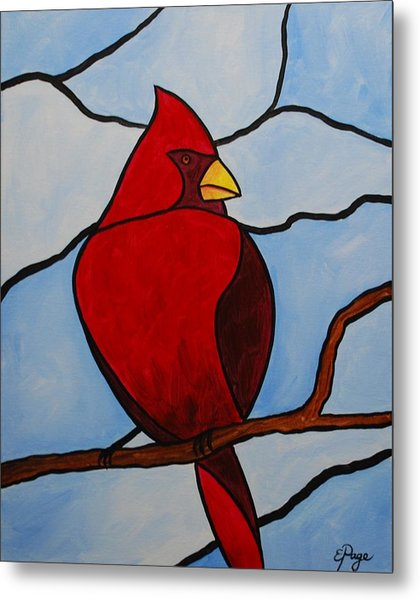 Stained Glass Cardinal Metal Print