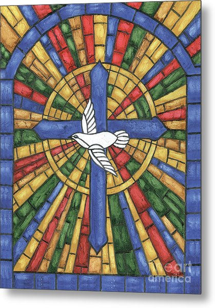 Stained Glass Cross Metal Print