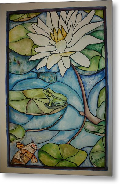 Stained Glass Frog Metal Print