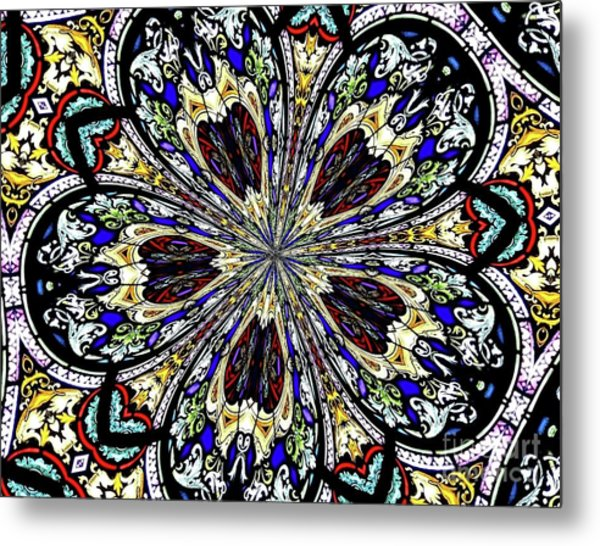 Metal Print featuring the photograph Stained Glass Kaleidoscope 38 by Rose Santuci-Sofranko