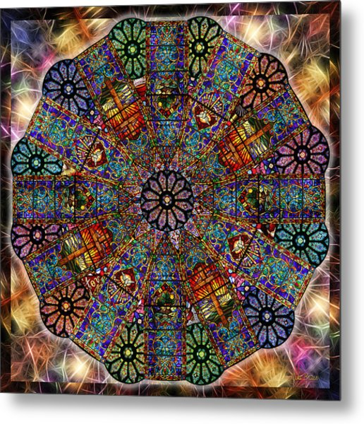 Stained Glass Mandala Metal Print