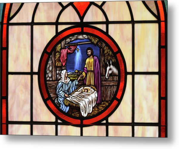 Stained Glass Nativity Window Metal Print