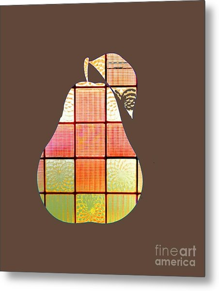 Stained Glass Pear Metal Print