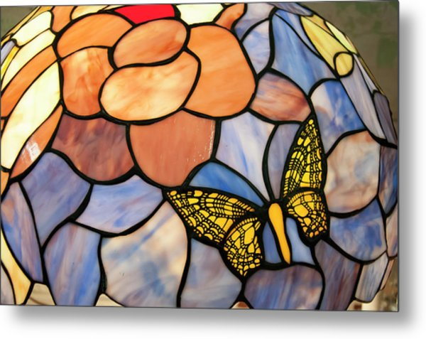 Metal Print featuring the photograph Stained Glass With Butterfly by Chris Flees