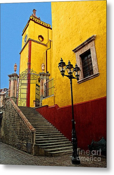 Staircase With Gate Metal Print by Mexicolors Art Photography