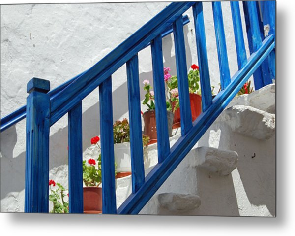 Stairs In Mykonos Metal Print by Armand Hebert