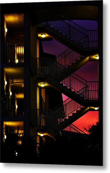 Stairway Silhouette At Sunset Metal Print