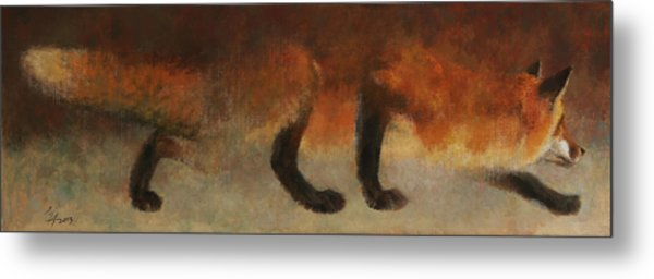 Stalking Fox Metal Print