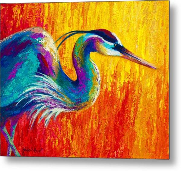 Stalking The Marsh - Great Blue Heron Metal Print