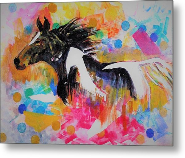 Stallion In Abstract Metal Print