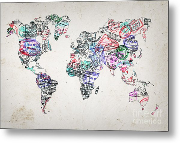Stamp Art World Map Metal Print