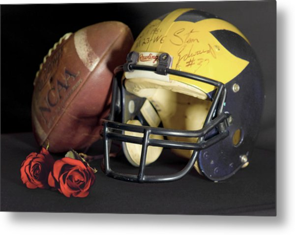 Stan Edwards's Autographed Helmet With Roses Metal Print
