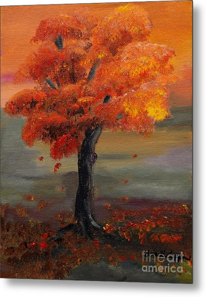 Stand Alone In Color - Autumn - Tree Metal Print