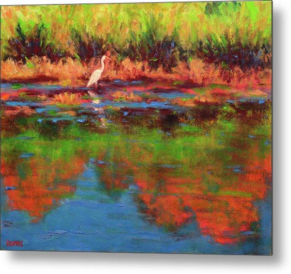 Langan Lake Heron I Metal Print