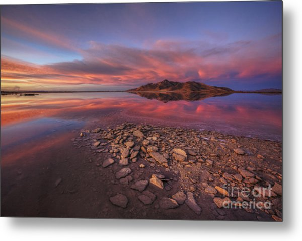 Sunset At A Favorite Spot On The Great Salt Lake Metal Print
