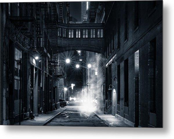 Staple Street Skybridge By Night Metal Print