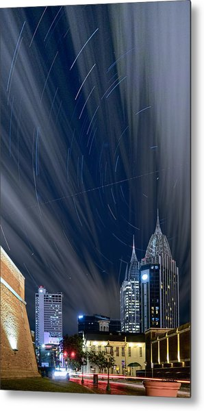 Star Trails And City Lights Metal Print