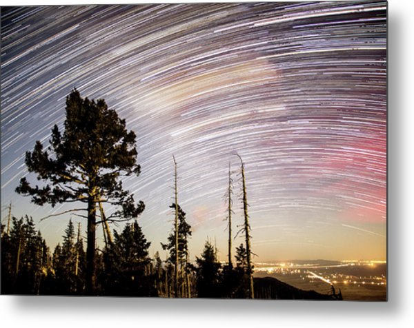 Star Trails At Fort Grant Metal Print