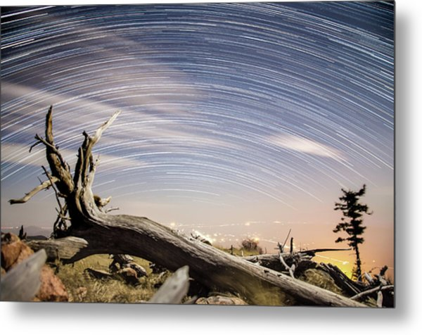 Star Trails By Fort Grant Metal Print