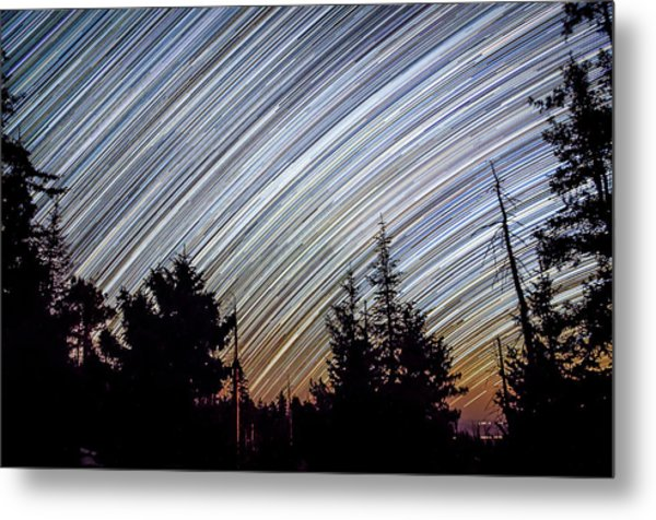 Star Trails From Mt. Graham Metal Print