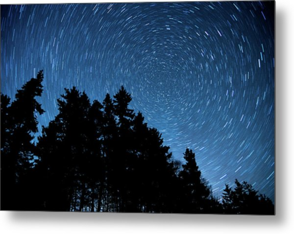 Star Trails In Acadia Metal Print