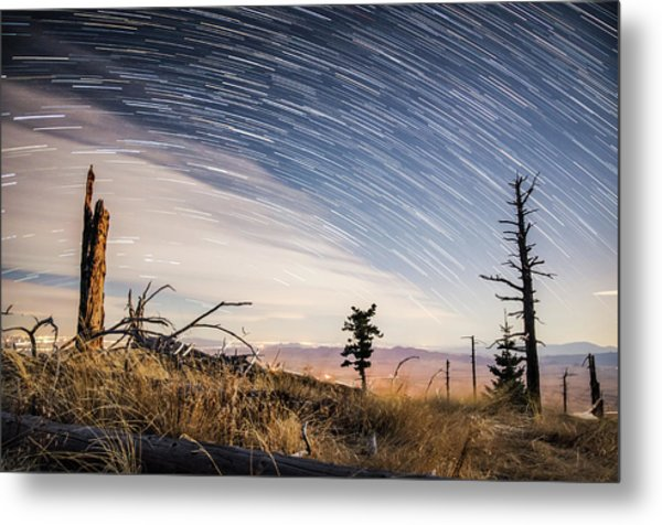 Star Trails Over Mt. Graham Metal Print