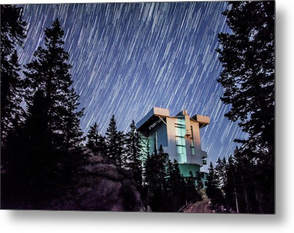 Star Trails Over The Large Binocular Telescope Metal Print