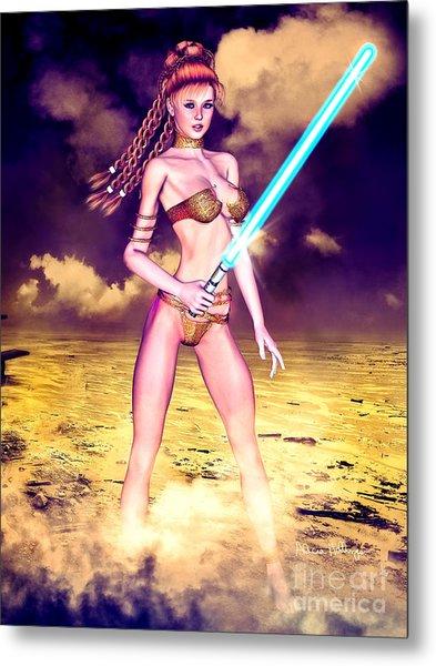 Star Wars Inspired Fantasy Pin-up Girl Metal Print