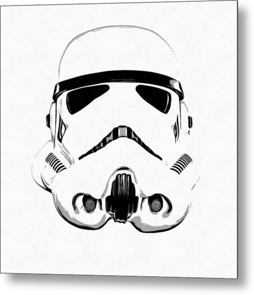 Star Wars Stormtrooper Helmet Graphic Drawing Metal Print