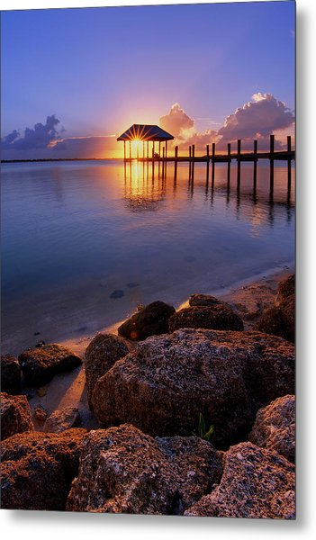 Starburst Sunset Over House Of Refuge Pier In Hutchinson Island At Jensen Beach, Fla Metal Print