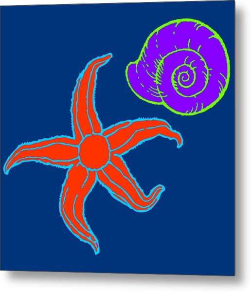 Metal Print featuring the digital art Starfish And Shell by Jennifer Hotai