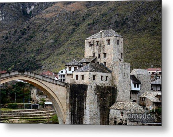 Stari Most Ottoman Bridge And Embankment Fortification Mostar Bosnia Herzegovina Metal Print
