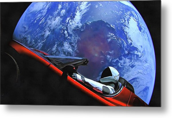 Starman In Tesla With Planet Earth Metal Print