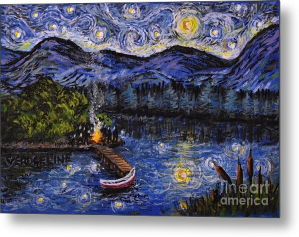 Starry Lake Metal Print
