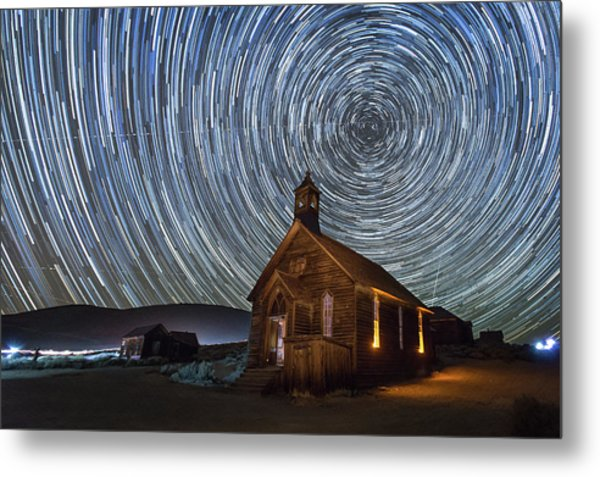 Starry Night Over Bodie Church Metal Print