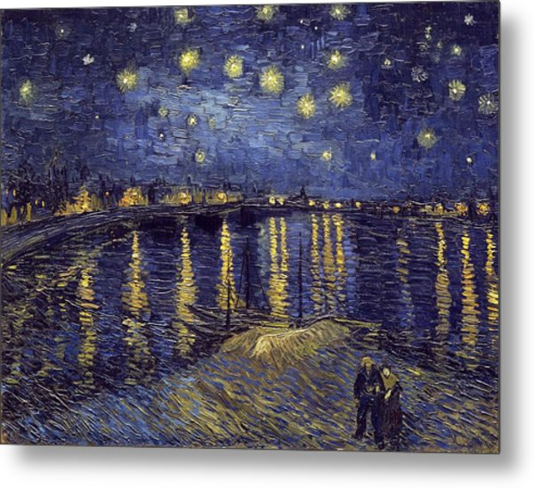 Metal Print featuring the painting Starry Night Over The Rhone by Van Gogh