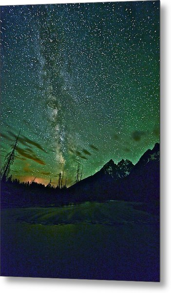 Starry Night Over The Tetons Metal Print