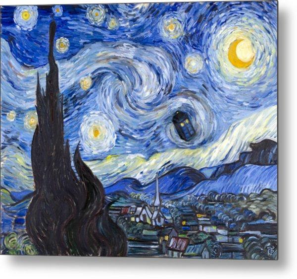 Starry Night With Tardis Metal Print