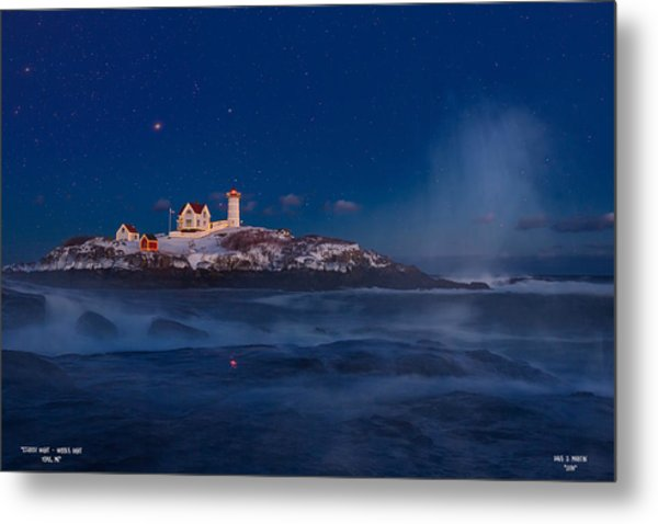 Starry Nubble Lighthouse Metal Print