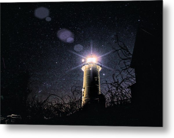 Stars Over Nobska Lighthouse Metal Print