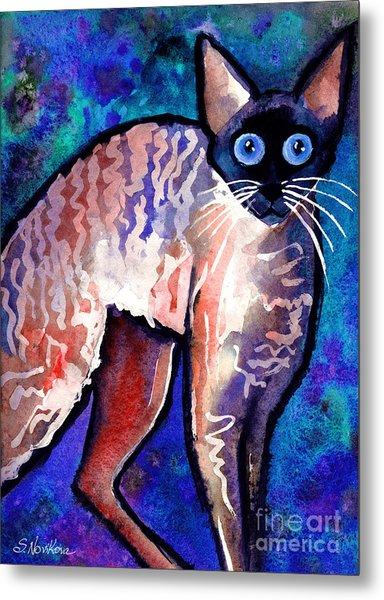 Startled Cornish Rex Cat Metal Print