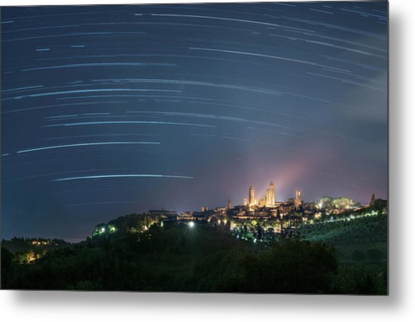 Startrails Over San Gimignano Metal Print