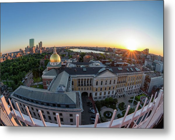 Metal Print featuring the photograph State House,fisheye View by Michael Hubley