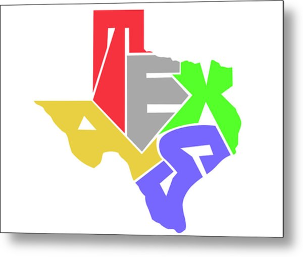 State Of Texas Typography Metal Print